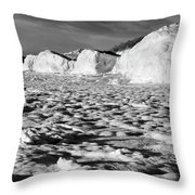 Standing On Lake Michigan Ice Throw Pillow