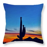 The Saguaro King Throw Pillow