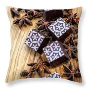 Star Anise Chocolate Throw Pillow