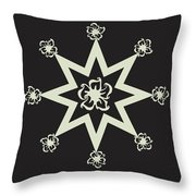 Star Flower - Ebony And Ivory Throw Pillow