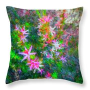 Star Flowers Shine Throw Pillow