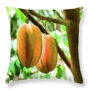 Star Fruit On The Tree Throw Pillow