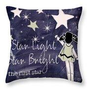 Star Light Star Bright Chalk Board Nursery Rhyme Throw Pillow
