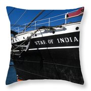 Star Of India Tall Ship San Diego Bay Throw Pillow