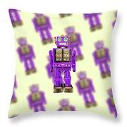 Star Strider Robot Purple Pattern Throw Pillow