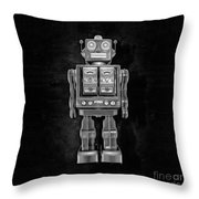 Star Strider Robot Red Bw Throw Pillow