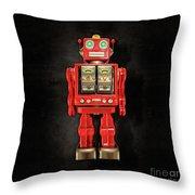 Star Strider Robot Red On Black Throw Pillow