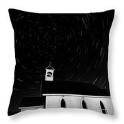 Star Tracks Over Saint Columba Anglican Country Church Throw Pillow
