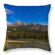 Star Trails Above The Front Ranges Throw Pillow