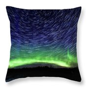 Star Trails And Aurora Throw Pillow