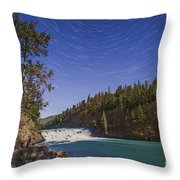 Star Trails And Moonbow Over Bow Falls Throw Pillow