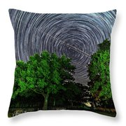 Star Trails At Sunken Meadow State Park Throw Pillow