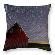 Star Trails At The Red Barn Throw Pillow