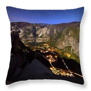 Star Trails At Yosemite Valley Throw Pillow
