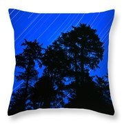 Star Trails Behind Ruby Beach Tree Group Throw Pillow