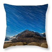 Star Trails Over Columbia Icefields Throw Pillow