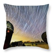 Star Trails Over Custer Observatory Throw Pillow