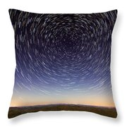 Star Trails Over Mountains Throw Pillow