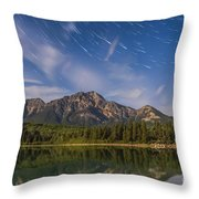 Star Trails Over Patricia Lake Throw Pillow