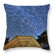 Star Trails Over The Umbrellas Throw Pillow
