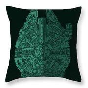Star Wars Art - Millennium Falcon - Blue Green Throw Pillow
