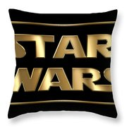 Star Wars Golden Typography On Black Throw Pillow