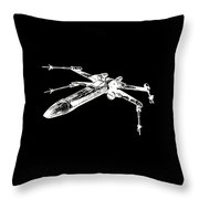 Star Wars T-65 X-wing Starfighter White Ink Tee Throw Pillow