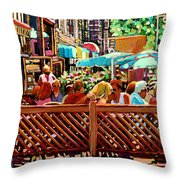 Starbucks Cafe On Monkland Montreal Cityscene Throw Pillow