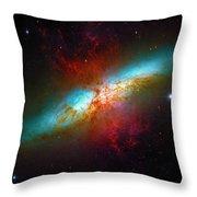 Starburst Galaxy M82 Throw Pillow