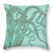 Stardust Tentacles, Aqua Watercolor Octopus Coated With Stardust Throw Pillow