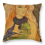 Starfire With Beast Boy In The Form Of A Ermine Throw Pillow