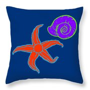 Starfish And Shell Throw Pillow
