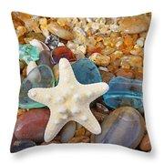 Starfish Art Prints Star Fish Seaglass Sea Glass Throw Pillow