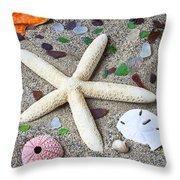 Starfish Beach Still Life Throw Pillow