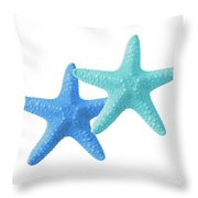 Starfish Blue And Turquoise On White Throw Pillow
