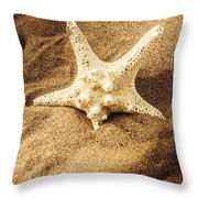 Starfish In Sand Throw Pillow