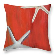 Starfish On Red Throw Pillow