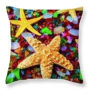Starfish On Sea Glass Throw Pillow