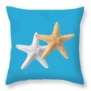 Starfish On Turquoise Throw Pillow