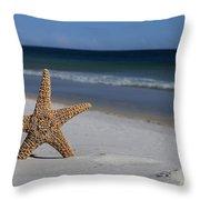 Starfish Standing On The Beach Throw Pillow