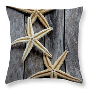 Starfishes In Wooden Throw Pillow