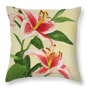 Stargazer Lilies - Watercolor Throw Pillow