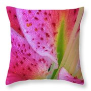 Stargazer Lily Close Up Throw Pillow