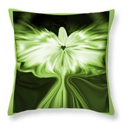 Starlight Angel - Green Throw Pillow