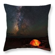 Starlight Camping On The Canyon Edge Throw Pillow