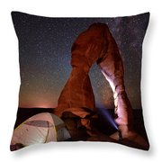 Starlight Tent Camping At Delicate Arch Throw Pillow