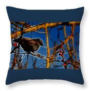 Starling In Winter Garb - Fractal Throw Pillow