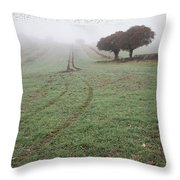 Starling Murtmuration In Foggy Misty Autumn Morning Landscape In Throw Pillow