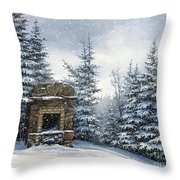 Starr King Stone Fireplace Throw Pillow