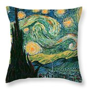 Starry Night After V. Vangogh Throw Pillow